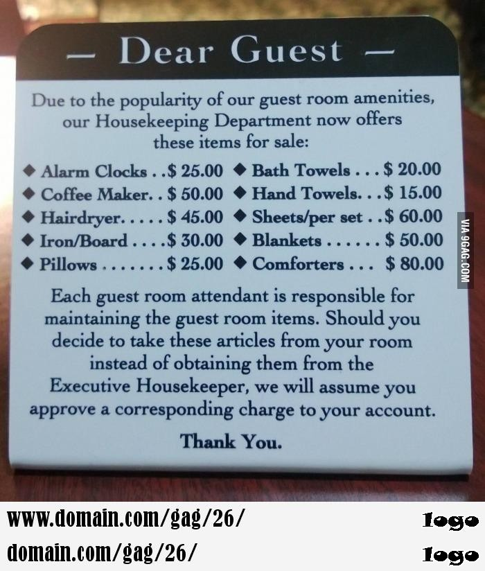 The most tactful way I ve seen to deter hotel theft